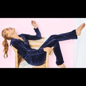 ❤️ LILLY PULITZER VELOUR PANTS XL TRUE NAVY